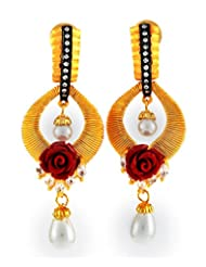 1.1⁰ By Xpressionss Designer Floral Gold Plated Dangle Earring With Pearl Drops And Zirconia F-XRE0815118