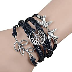Sortitio's Bird Leaves Tree Black Bracelet