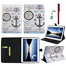 buy Ancerson® Pu Leather Case For Samsung Galaxy Tab 4 10.1 T530 Colorful Printed Magnet Buckle Built-In Credit/ Id Card Slot Ultra Slim Protective Flip Folio Folding Stand Pouch Shell Skin Free With A Red Stylus Touchscreen Pen, A 3.5Mm Universal Crystal Dia