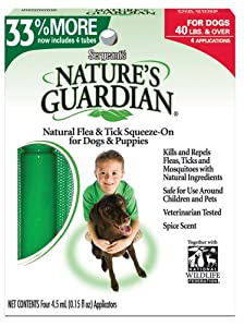 Sergeant's Nature's Guardian Flea and Tick Sqz-On Dog Over 40-Pound 4ct