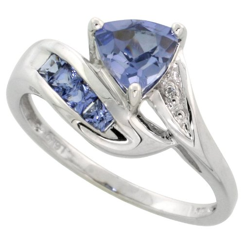 10K White Gold Trillion Ring, W/ Brilliant Cut Diamonds & Lab Created Light Tanzanite Stones, 3/8 In. (10Mm) Wide, Size 7