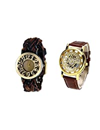 COSMIC COUPLE WATCH- DARK BROWN DESIGNER ANALOG WATCH FOR WOMEN AND BROWN SKELETON WATCH FOR MEN- PACK OF 2