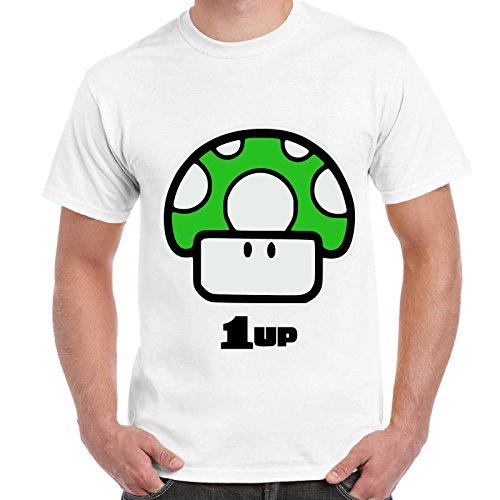 Maglietta Uomo T-Shirt Con Stampa Videogames Anni 90 Super Mario Funghetto 1 Up Imperdibili, Colore: Bianco, Taglia: S