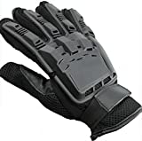 Dealzip Inc®Black Full Finger Armored Paintball Airsoft Vented Leather Combat Moterbike Gloves-Size:Medium+Random gift