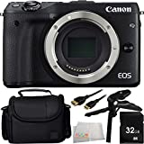 Canon EOS M3 Mirrorless Digital Camera (Body, Black) 32GB Bundle 5PC Accessory Kit. Includes 32GB Memory Card + Pistol Grip/Table Top Tripod + Mini HDMI Cable + Carrying Case + Microfiber Cleaning Cloth