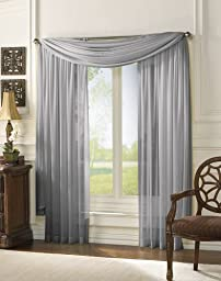 MONAGIFTS 2 PANELS GRAY / SILVER Sheer Voile Window Panel curtains 59\