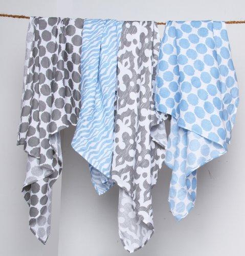 Ikat Blue/Grey Swaddling Muslin Blankets set of 4
