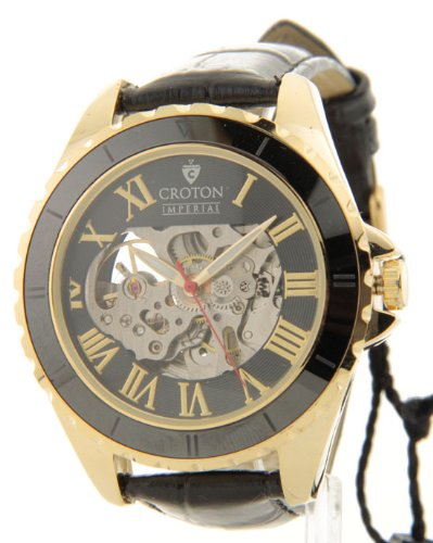Croton Imperial Black Leather Gold Tone Automatic Movement Ceramic Dial Watch C1331061YLBK