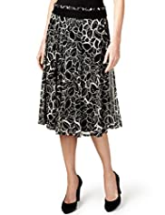Per Una Contrast Leaf Print Mesh Skirt