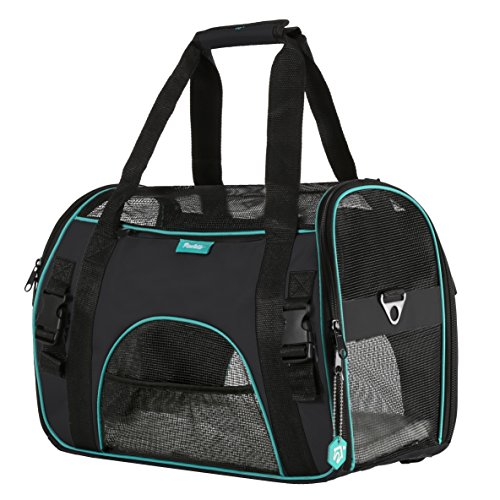 Pet Carrier for Dogs & Cats by PAWDLE Comfort Airline Approved Travel Tote Soft Sided Bag (Medium, Black)
