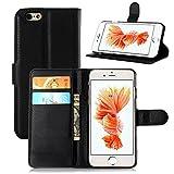 iPhone SE/iPhone 5SE ケース PopSky® 全7色 iPhone 5seライチ紋手帳型専用カバー 最高品質のPUレザー 超軽量カードスロット付きの専用保護ケース (iPhone SE, ブラック)
