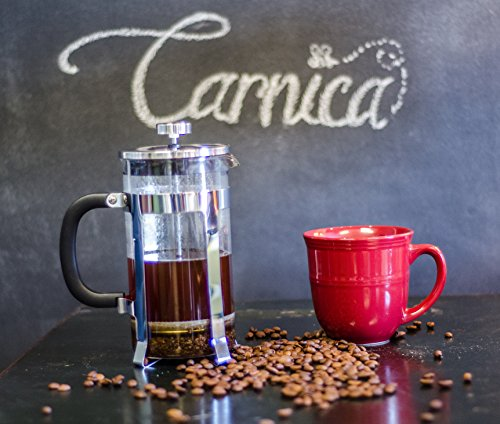 Carnica-French-Press-Coffee-Maker-8-Cup-34-Ounce-Capacity-Clear-Glass-Carafe-w-Stainless-Steel-Accents-Bonus-Recipe-eBook