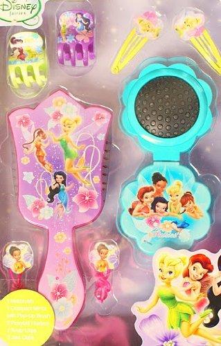 DISNEY FAIRIES - DIE FEEN - Tinker Bell und ihre Fee-Freundinen - Tolles 8 teiliges Haarpflege-Set - Haaraccessoires - beinhaltet: x grosse wunderschoene Haarbürste, 1 x Klappbürste mit Spiegel, 2 x Haarbaender, 2 x Snap-Clips, 2 x Spangen - Fairies: Tinker Bell, Silvermist, Rosetta, Fawn, Iridessa, Vidia, Terence - Macht ein traumhaftes Geschenk!