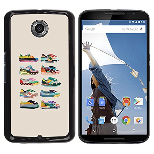 Pulsar Snap-on Series Plastic Back Case Shell Skin Cover for Motorola Google NEXUS 6 / XT1100 , Sneakers Shoes Fashion Design Beige Chart