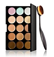 XILALU Cosmetic Makeup Blusher Toothbrush Curve Foundation Brush+15 Colors Concealer from XILALU