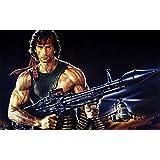 Posterhouzz Movie Rambo: First Blood Part II Rambo HD Wallpaper Background Fine Art Paper Print Poster