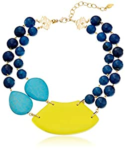 "David Aubrey ""LAUREN"" Blue Agate, Turquoise, and Yellow Large Bib Necklace, 15"""