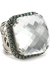 "Sorrelli ""Aegean Sea"" Crystal Checkerboard Cube Adjustable Ring"