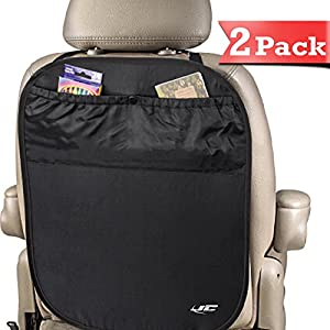 Kick Mats & Backseat Organizer (2 Pack) + BONUS TRAVEL GAMES EBOOK - Easy to Clean - 100% Lifetime Guarantee - Universal Car Seat Back Protector - Large Organizer Pockets with Storage - Easy to Clean Kick Mats - 100% No-Hassle Lifetime Guarantee