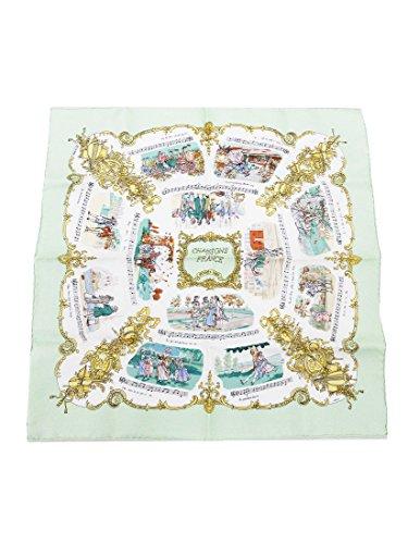HERMES(エルメス) プチスカーフ ミニ CHANSONS 楽譜 ライトグリーンx白 黄緑 シルク100%
