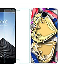 Indiashopers Combo of Pattern & Ethnic HD UV Printed Mobile Back Cover and Tempered Glass For OnePlus 3