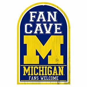 NCAA Michigan Wolverines 11-By-17-Inch Fan Cave Wood Sign