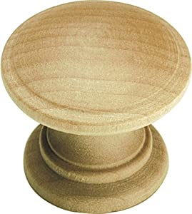 Hickory Hardware P685-UW 1-1/4-Inch Natural Woodcraft Unfinished Wood Cabinet Knob, Uned Wood