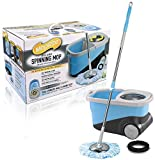 Spin Mop - Deluxe Stainless Steel Spin Mop and Bucket System with Wheels by MopRite - Dual Function System for Spin Washing and Drying - No Foot Pedal Needed - Includes 2 Microfiber Mop Heads and Scrub Brush - Satisfaction Guaranteed!