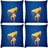 Snoogg Jellyfish In Sea Pack Of 4 Digitally Printed Cushion Cover Pillows 16 X 16 Inch