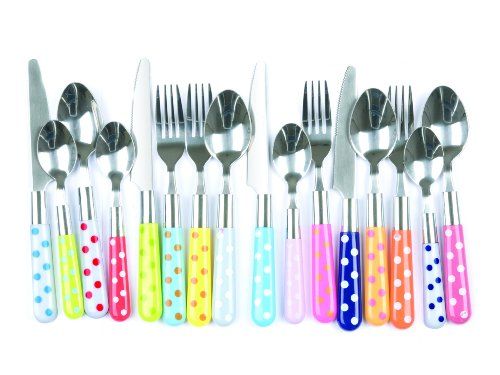Present Time Cutlery Set Polka Dots Assorted Colours