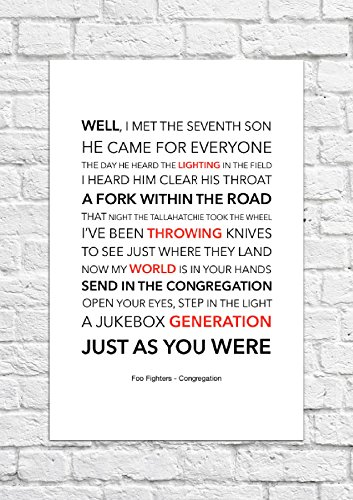 Foo Fighters-Congregation Lyrical-Song-Poster con stampa artistica, non incorniciati