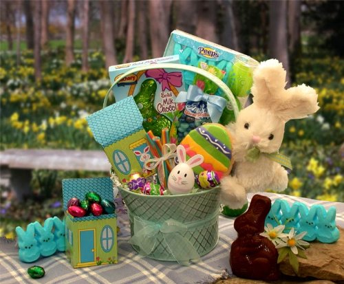 Bunny Hop Easter Gift Basket of Chocolate and Candy Treats