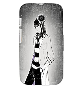 PrintDhaba Tom Girl D-6070 Back Case Cover for MOTOROLA MOTO E (Multi-Coloured)