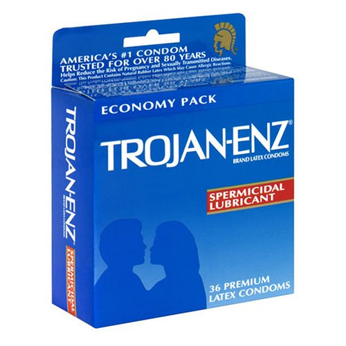 Condom with spermicide lubricant