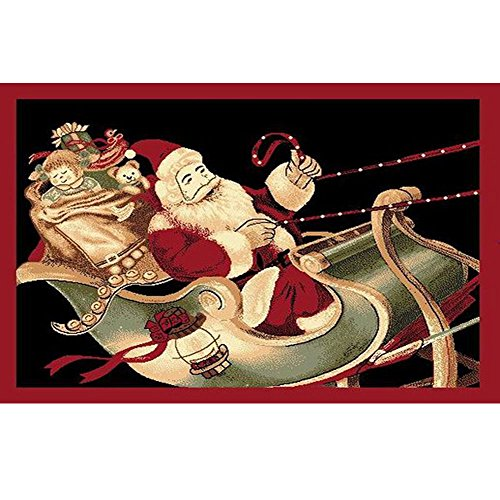 Christmas Rug Holiday Décor Santa on Sled Area Rug 3ft4in X 4ft6in + Free Shipping