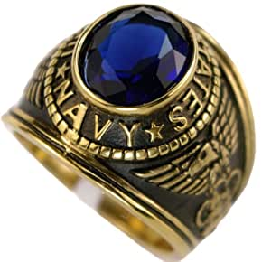 US Navy Blue CZ 18K Gold Overlay Men's Ring size 8 9 10 11 12 13