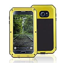 Galaxy S6 Case Heavy Duty Aluminum Metal, SAVYOU Dual Layer EXTREME Protection Gorilla Glass Metal Cover for Samsung Galaxy S6 G9200 ,[Not Waterproof] (Yellow)