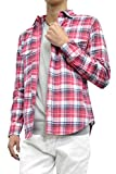 コットンチェックシャツ (M, レッド)
