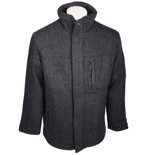 Harbour Bay Mens Grey Wool Blend Herringbone Coat in Size Small