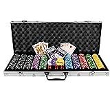 """Pokerkoffer Pokerset 500 Laser Pokerchips Poker Komplett Set 11 g Chips Deluxevon """"Nexos Trading"""""""