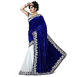 Morpankh enterprise Blue Velvet & brocket Saree ( velvet blue )