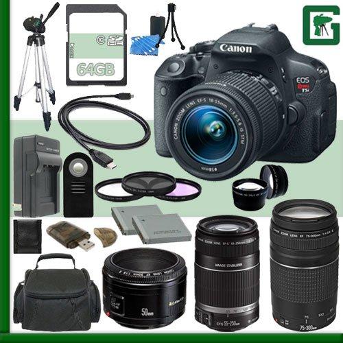 Canon Eos Rebel T5I Digital Slr Camera Kit With 18-55Mm Stm Lens And Canon 55-250Mm Lens And Canon 50Mm F/1.8 Lens And Canon Ef 75-300Mm Iii Lens + 64Gb Green'S Camera Package 1