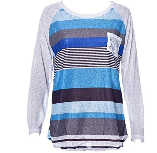 Gillberry Women's V-neck Casual Short Sleeve T-shirt Blouse Tees Tops (XL, Blue)