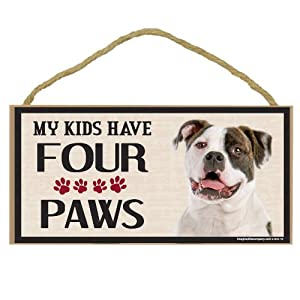 Imagine This Wood Breed Four Paws Sign, American Bulldog