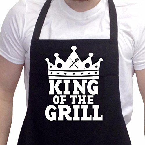 BBQ Apron Funny Aprons For Men King Of The Grill Barbecue Grill Kitchen Gift Black One Size (Bbq Clothing compare prices)
