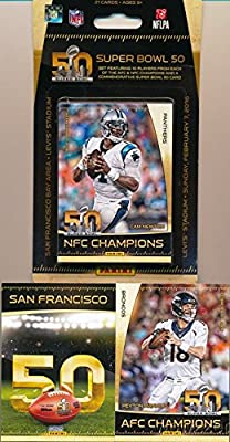 2016 Panini Super Bowl 50 EXCLUSIVE Special Commemorative Factory Sealed Collectors Set with 21 Cards including Peyton Manning, Cam Newton & all the Top Denver Broncos & Carolina Panthers Superstars!