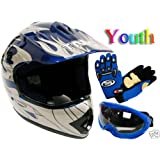 TMS® Youth Blue Flame ATV Dirt Bike Motocross Helmet with Goggles and Gloves (Large)