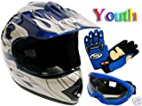TMS® Youth Blue Flame ATV Dirt Bike Motocross Helmet with Goggles and Gloves (Medium)