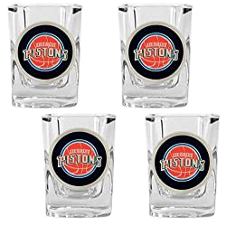 Detroit Pistons NBA 4pc Square Shot Glass Set