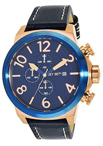 Jet Set  - Reloj de cuarzo para hombre, correa de cuero color azul